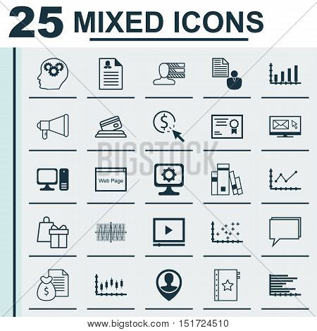 Set Of 25 Universal Icons On Newsletter, Report, Stock Market And More Topics. Vector Icon Set Inclu