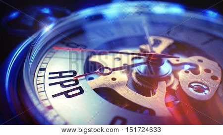Pocket Watch Face with App - Application Inscription, CloseUp View of Watch Mechanism. Business Concept. Lens Flare Effect. 3D Illustration.