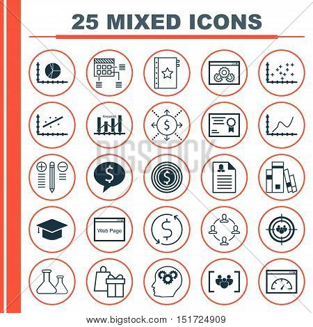Set Of 25 Universal Icons On Circle Graph, Library, Warranty And More Topics. Vector Icon Set Includ