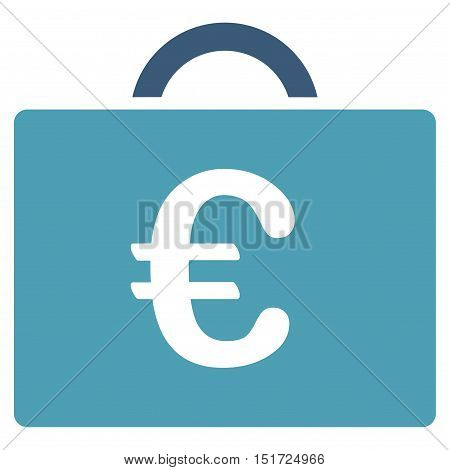 Euro Bookkeeping Case icon. Vector style is bicolor flat iconic symbol, cyan and blue colors, white background.