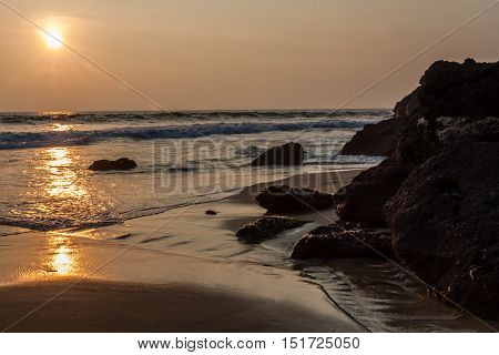 Sunset on Varkala Beach in Kerala India