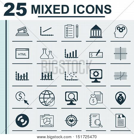 Set Of 25 Universal Icons On Graphical Grid, Blank Cd, Credit Card And More Topics. Vector Icon Set