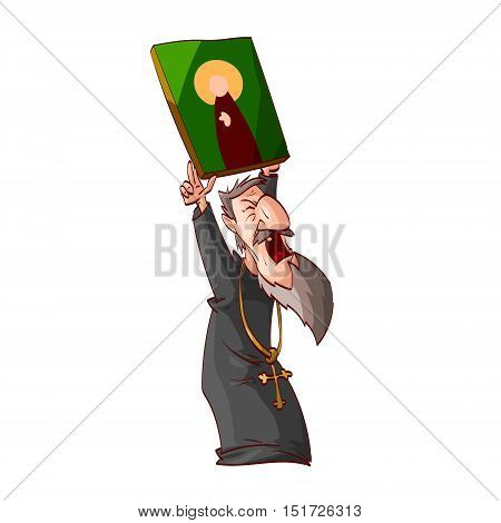 Cartoon illustration of an angry eastern orthodox priest or monk holding an icon