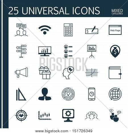 Set Of 25 Universal Icons On Job Applicants, Website, Stock Market And More Topics. Vector Icon Set