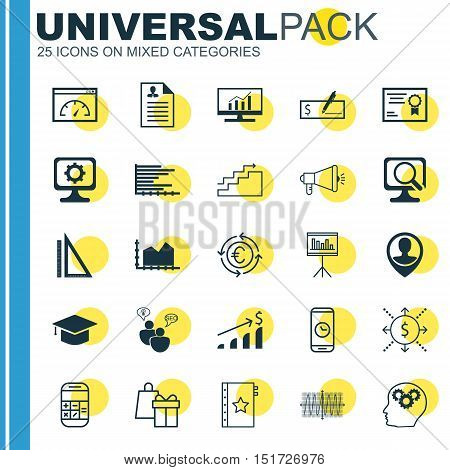 Set Of 25 Universal Icons On Bank Payment, Employee Location, Cosinus Diagram And More Topics. Vecto