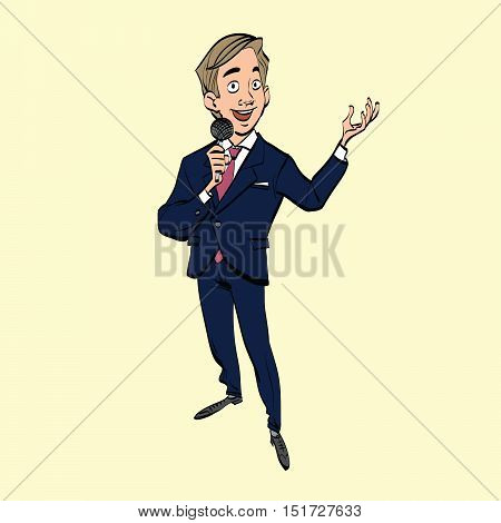 broadcaster, journalist or singer with microphone, hand drawn line art illustration. Shows and TV