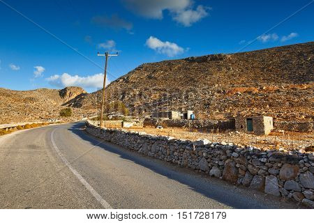 Rural landscape on Folegandros islands early in the morning