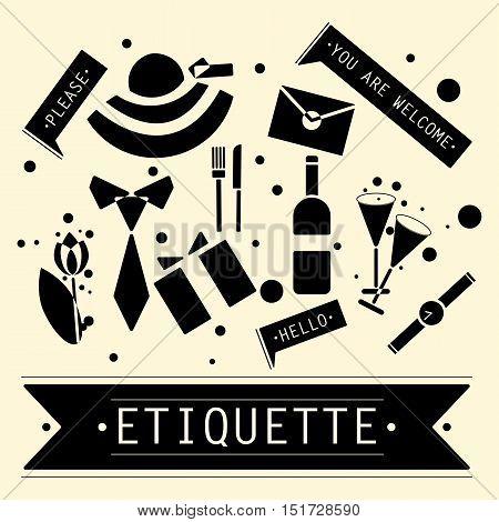 The elements of speech etiquette. Phrases in etiquette. Vector illustration.