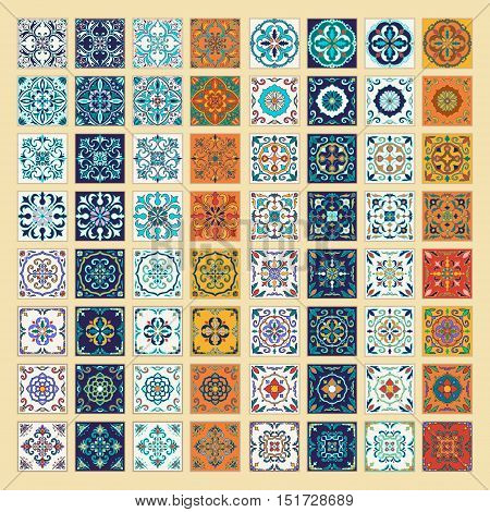 Vector set of Portuguese tiles. Beautiful colored patterns for design and fashion. Azulejo Spanish Moroccan ornaments in four different color combination