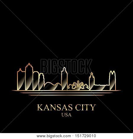 Gold Silhouette Of Kansas City On Black Background