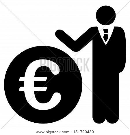 Euro Economist icon. Vector style is flat iconic symbol, black color, white background.