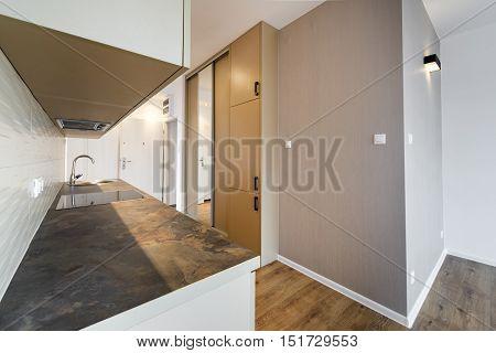 New apartment empty with domestic kitchen interior design