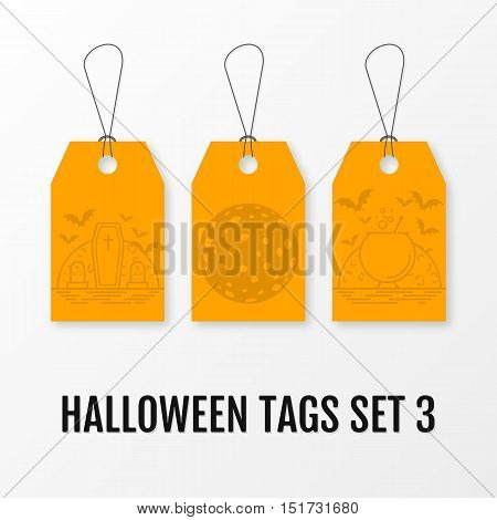 Halloween sale tags set vector isolated templates. Sale sticker with halloween elements moon, bats, crosses, coffin, graves, cauldron and bubbles. Illustration for 31 october.