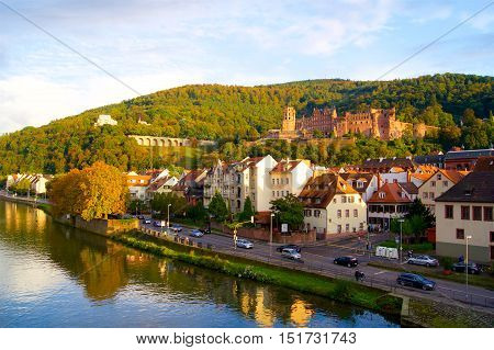 Heidelberg Castle in Germany in a Europe