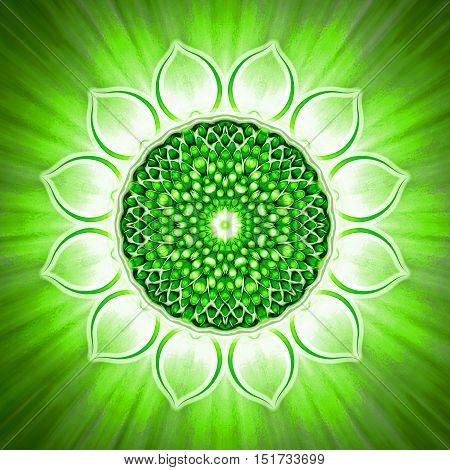 Illustration of a chakra symbol. Heart chakra anahata.