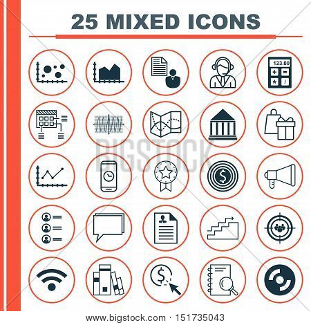 Set Of 25 Universal Icons On Focus Group, Call Duration, Wireless And More Topics. Vector Icon Set I