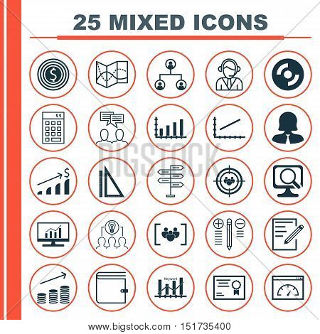 Set Of 25 Universal Icons On Decision Making, Road Map, Laptop And More Topics. Vector Icon Set Incl