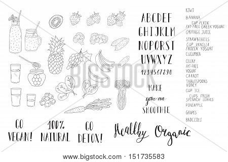 Smoothie with a bottle and ingredients. Detox and healthy eating. Hand-drawing.