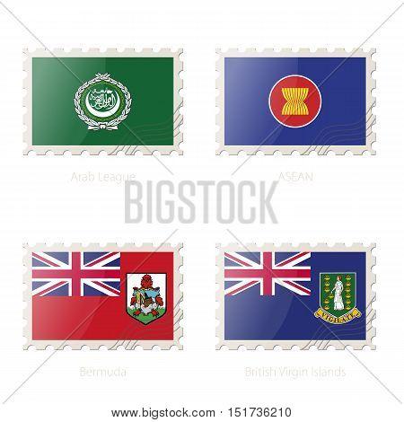 Postage Stamp With The Image Of Arab League, Asean, Bermuda, British Virgin Islands Flag.