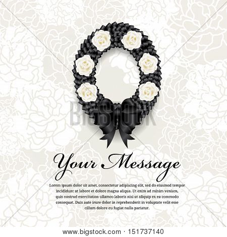 Funeral card - Circle Black ribbon wreath bow and white rose on soft flower abstract background