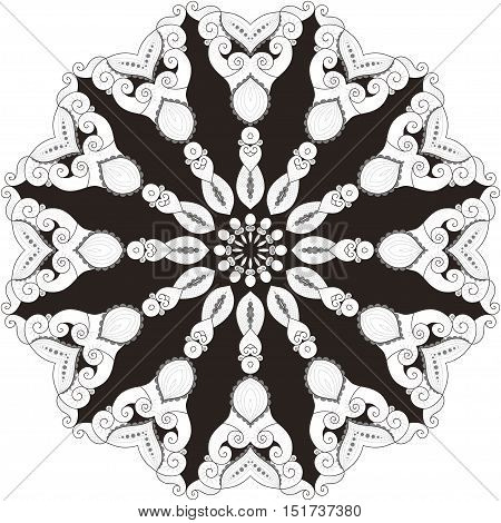Elegant round lace pattern. Black white and gray. Easy to change colors. Twelve rays.