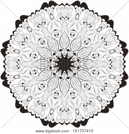 Round lace pattern. Black white and gray. Easy to change colors. Twelve rays.