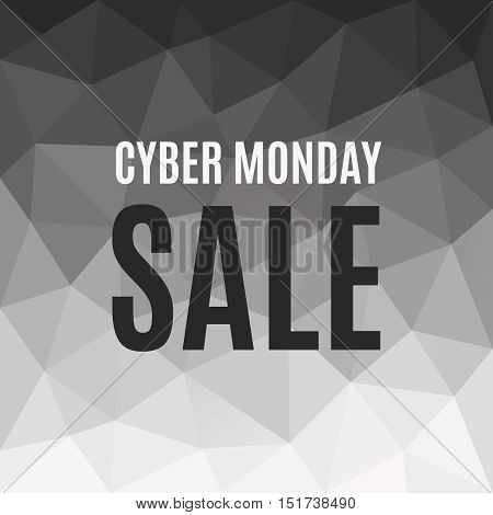 Polygonal Banner Cyber Monday Sale. Low poly background. Copy space for text. Vector design element. Trendy advertisement from triangle pattern and words. Dark sales polygons backdrop
