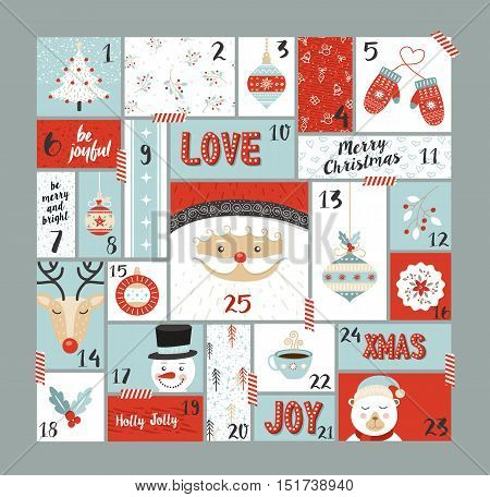Christmas Advent Calendar Cute Decoration Elements
