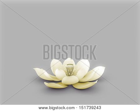 Illustration of a lotus flower  with solar plexus chakra color yellow.