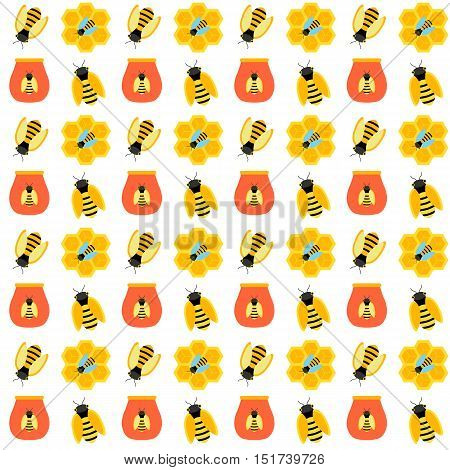 Honey bee seamless pattern. Vector illustration of honeycombs and hives.