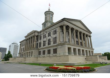 Tennessee State Capitol, Nashville, Tennessee, USA. This building, built with Greek Revival style in 1845, is now the home of Tennessee legislature and governor's office. poster