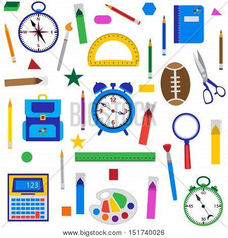 School objects seamless background. Vector illustration of education supplies on white.