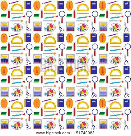 School tools seamless pattern. Vector illustration of education and office objects.