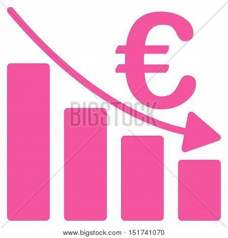 Euro Recession Bar Chart icon. Vector style is flat iconic symbol, pink color, white background.