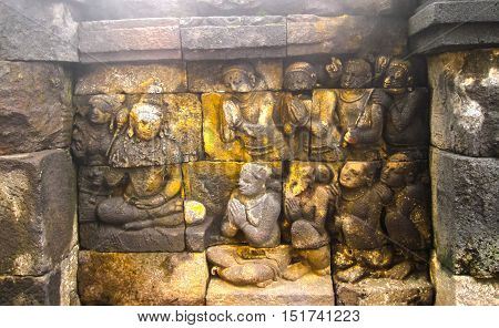The fragment of Borobudur Temple, Central Java, Indonesia
