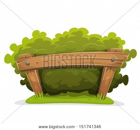 Illustration of a cartoon hedge with wooden barrier