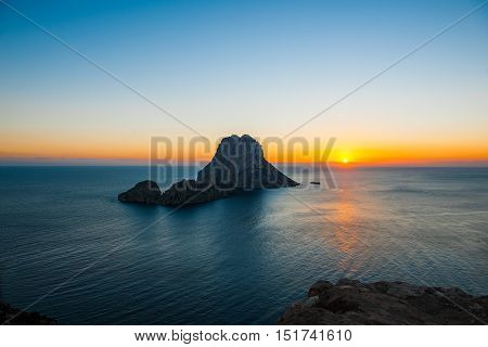 Sunset at Es Vedra and Es Vedranell at Ibiza stock picture