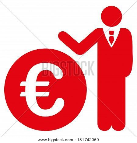 Euro Economist icon. Vector style is flat iconic symbol, red color, white background.