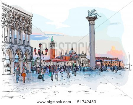 Venice - Piazza San Marco. View from the Doge's Palace & Island of San Giorgio Maggiore. Vector color drawing