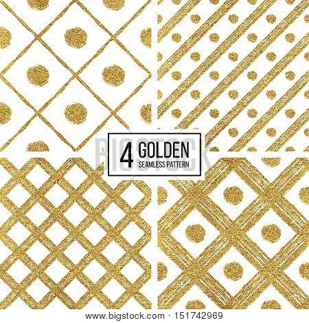 Set of grunge seamless pattern of gold silver diagonal stripes and circle, seamless background golden and silvern lines and points, hand drawn vector pattern for textile, wallpaper, web, wrapping