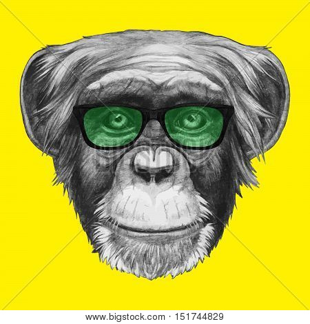 Hand drawn portrait of Monkey with glasses.