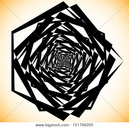 Geometric Spiral-like Shape. Random Abstract Edgy Element.