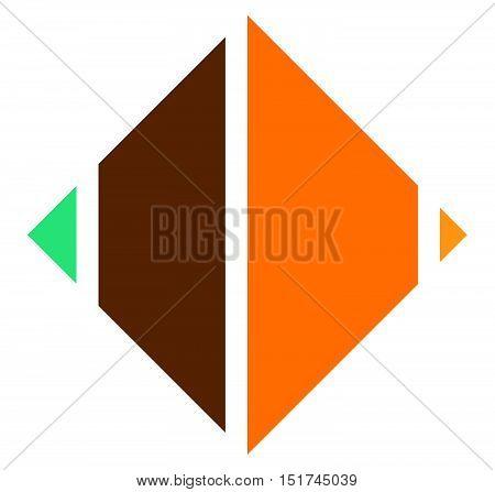Segmented Square Icon, Logo Shape. Square Cut In Fourth.