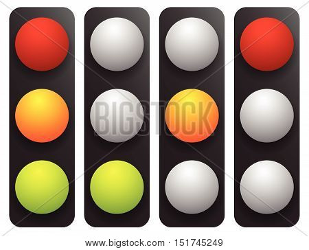 Simple Traffic Light / Traffic Lamp Set In Sequence. Control Lights, Allow, Disallow, Hold Concepts.
