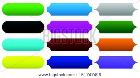 3 Type Banner, Button, Plaque Shapes In 12 Color