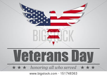Eagle with USA flag inside for Veterans Day. Vector illustration