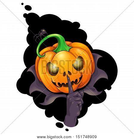 Halloween Jack O'Lantern making the hush sign