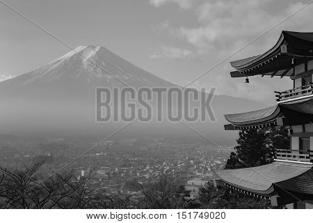 Black and White, Mt. Fuji viewed from behind red Chureito Pagoda, Japan