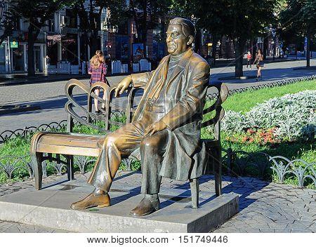 Odessa, Ukraine - September 01, 2016: Bronze sculpture of the famous actor Leonid Utesov