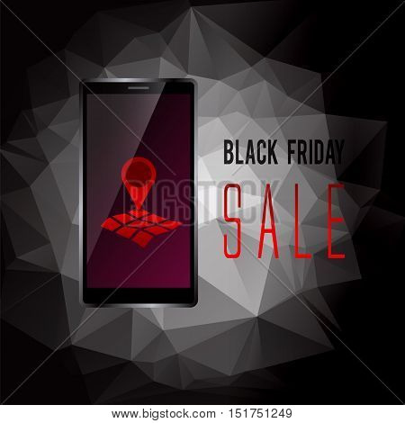 Black Friday sale promo text with mobile device and geo tag symbol on screen advertising vector illustration